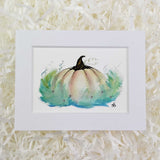 cream colored magic pumpkin with mint and blue leaves art print with white matte