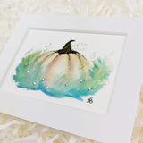 magical fairy tale pumpkin cream, blue, and green, art print with white matte