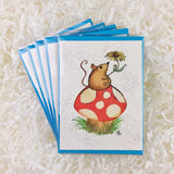 Mouse with a Flower on a Mushroom – Art Prints, and Cards