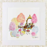 Cute squirrel opera mezzo soprano singer on her vanity surrounded by flowers, an art print with a white matte