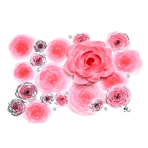 pretty pink watercolor roses with Swarovski crystals