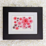 beautiful pink roses with ink and 3D rose art print with black frame