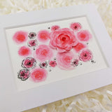 pink watercolor roses art print with white matte