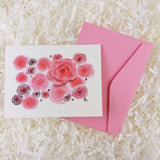 beautiful pink roses watercolor artwork handmade card with envelope