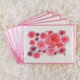 pretty pink watercolor roses artwork card set of five handmade cards