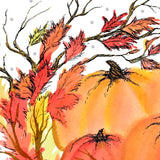 Closeup of ink and watercolor detail in branches and watercolor pumpkins