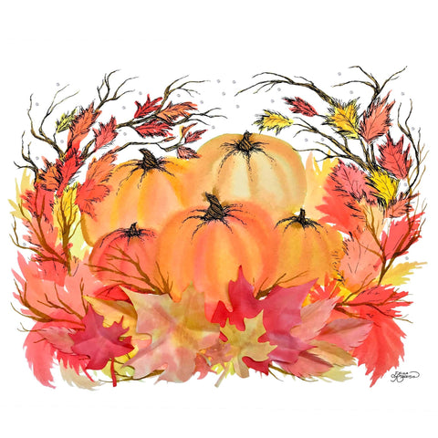 Five bright pumpkins surrounded by branches with Autumn leaves and 3D leaves, adorned with Swarovski crystals