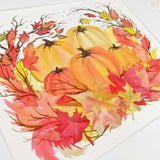 Pretty watercolor pumpkin patch with 3D leaves and ink accents, an art print with a white matte