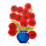bouquet of red daisies in a blue vase with Swarovski crystals