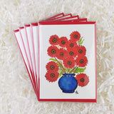 pretty red daisies in a royal blue vase set of five handmade cards