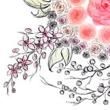 Closeup detail of roses, cherry blossoms, and berry branches with pastel watercolors
