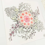 Pastel colored rose bouquet with cherry blossoms, baby's breath, and berry branches, an art print with a white matte