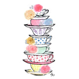 stack of colorful tea cups with roses and Swarovski crystals