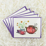 set of five cards with pink and purple tea cups and tea pot