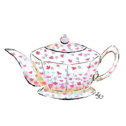 White teapot with cute small purple and pink scattered flowers and Swarovski crystals