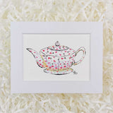 cute white teapot with tiny purple and pink flowers art print with white matte
