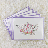 cute white teapot with scattered pink and purple flowers set of 5 handmade cards