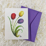 red, yellow, and purple tulips handmade card with envelope