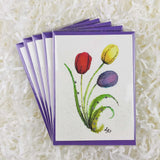 colorful and bright tulips artwork on set of five handmade cards