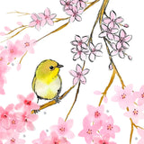 Closeup detail of ink, watercolor, and 3D cherry blossoms, and a small yellow white eyed warbling bird.