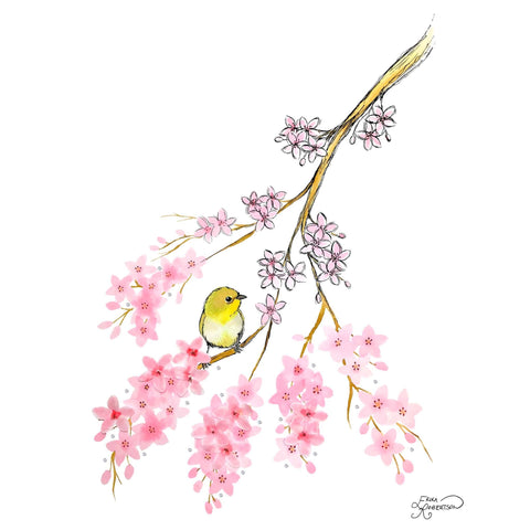 Japanese cherry blossom branch with a small yellow warbling bird, embellished with Swarovski crystals and 3D flowers