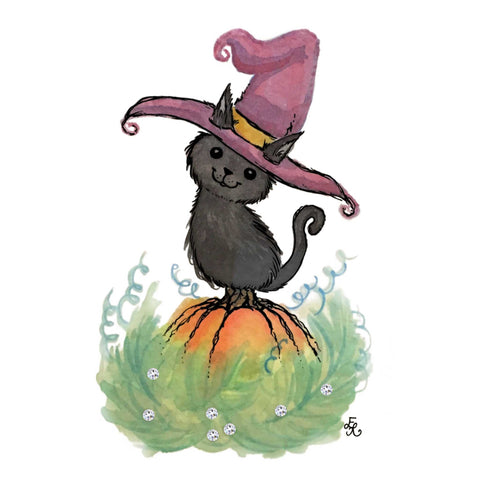 black cat on a pumpkin with a witch hat and Swarovski crystals
