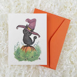 black witch cat on Halloween pumpkin handmade card with envelope