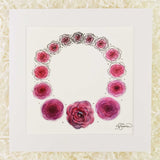 Minimalist wreath made of purple roses that transform from ink to watercolor to a single 3D flower, an art print with a white matte