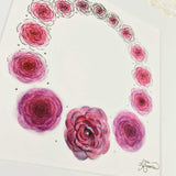 Purple roses make a simple minimalist wreath, an art print with a white matte