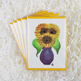 big yellow sunflowers in a purple vase set of 5 handmade cards