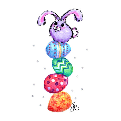 Cute purple bunny on a stack of colorful Easter eggs, a miniature watercolor painting by Art With Erika