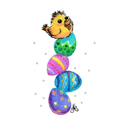 Art With Erika yellow chick on a stack of Easter eggs, miniature watercolor painting