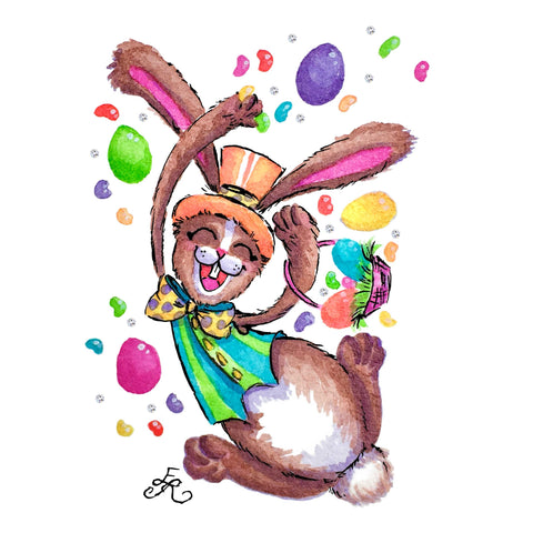 Easter Bunny with eggs, jellybeans , and basket, archival art print and cards from Art With Erika