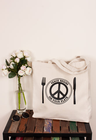 Vegan Tote Bag - Peace Begins On Your Plate