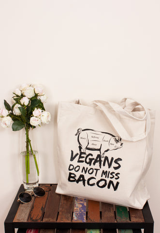 Vegan Tote Bag - Vegans Do Not Miss Bacon