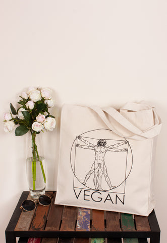Vegan Tote Bag - Vitruvian Man