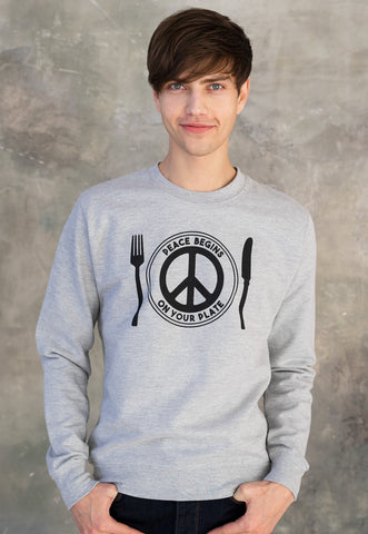 Vegan Sweatshirt - Peace Begins On Your Plate