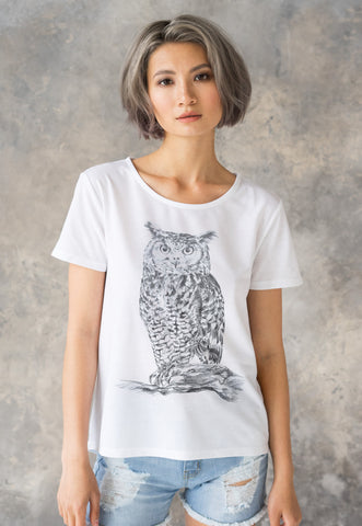 Owl T Shirt Artist Pencil Sketch Drawing