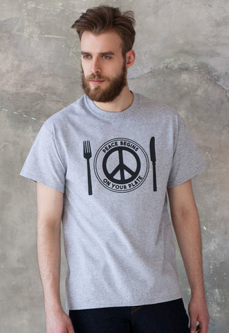 Men's Vegan T Shirt - Peace Begins On Your Plate