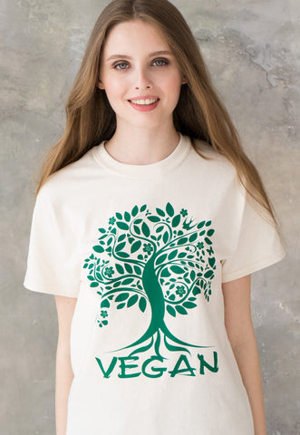 Women's Unisex Vegan ivory T Shirt - Tree Of Life