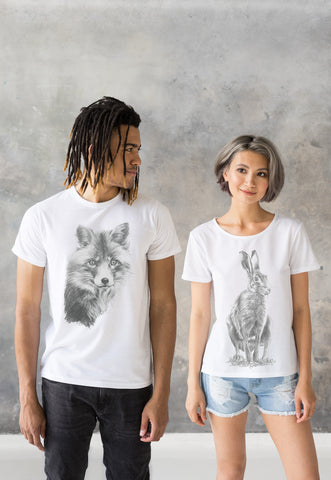 Matching Couple T Shirts - Artist Pencil Sketch Drawing Hare Fox Cub