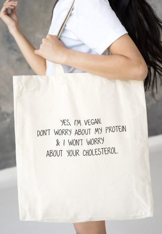 Vegan Tote Bag - Don't Worry About My Protein