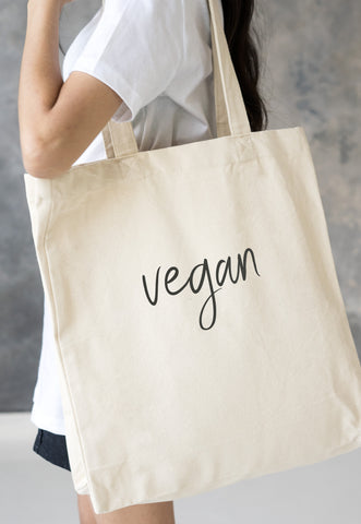 Vegan Tote Bag - Vegan Script/Typography