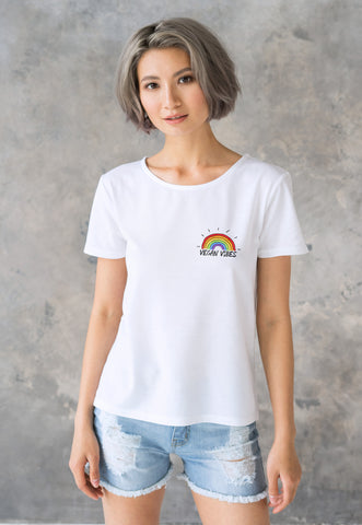 Vegan Vibes T Shirt - Cute Kawaii Printed Rainbow Tee. Pocket Print