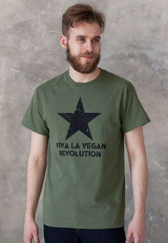 Men's Vegan T Shirt - Viva La Vegan Revolution