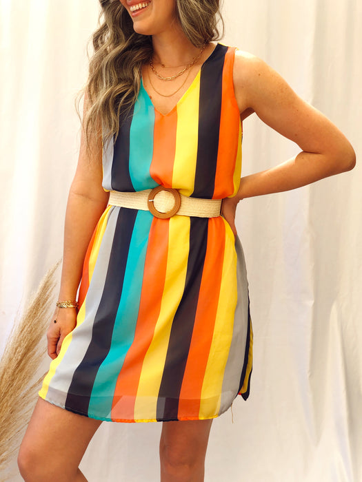 Mila Yellow Multistripes Dress