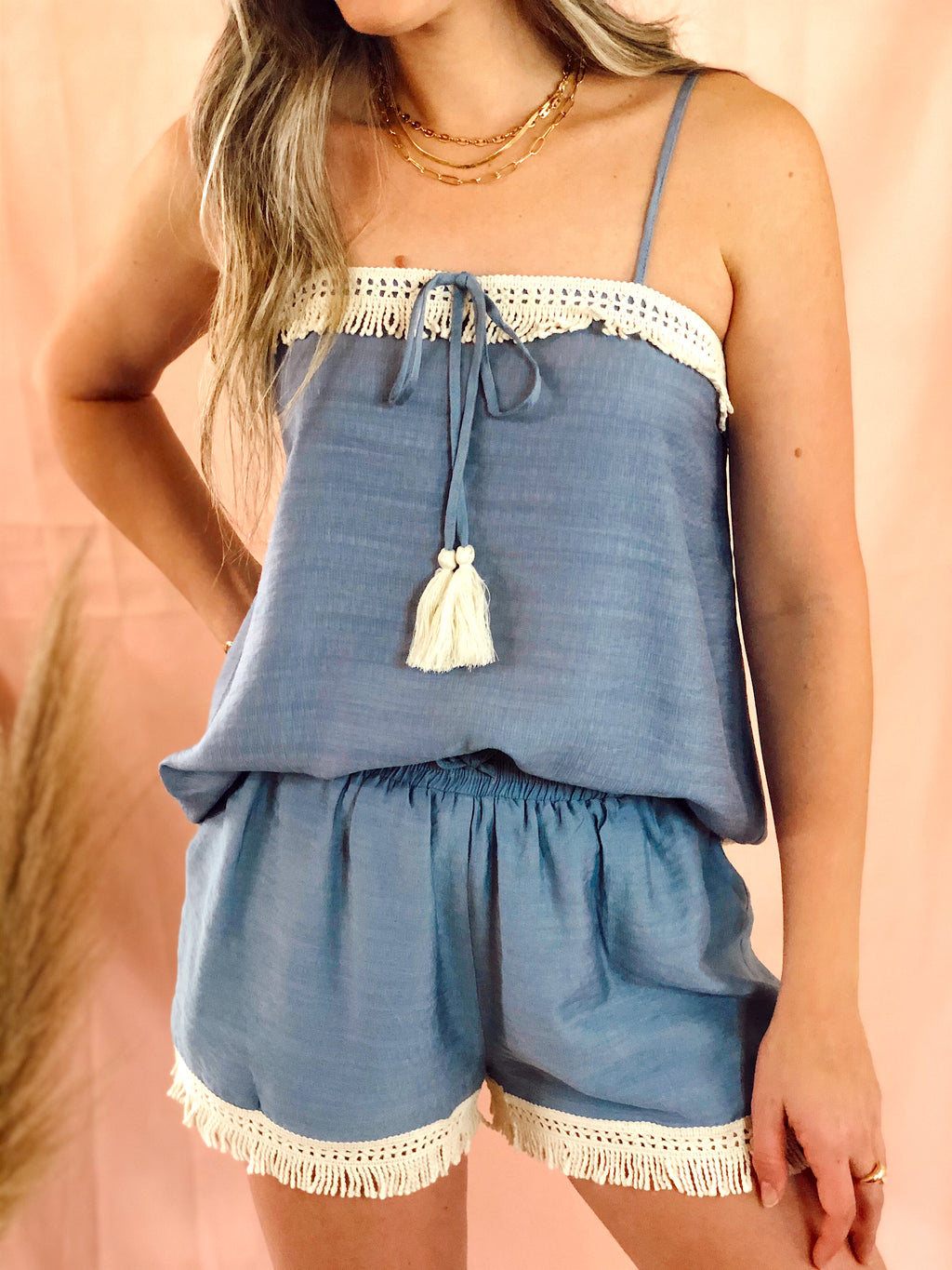 Blue Tassel Top and Short Set