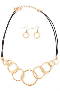 Matte Gold Circle Fashion Necklace Set