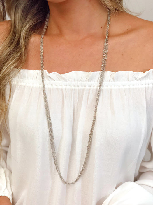 Silver Multi Chain Twisted Necklace