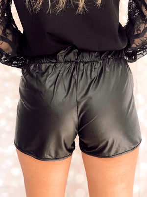 Black Vegan Leather elasticized waist shorts